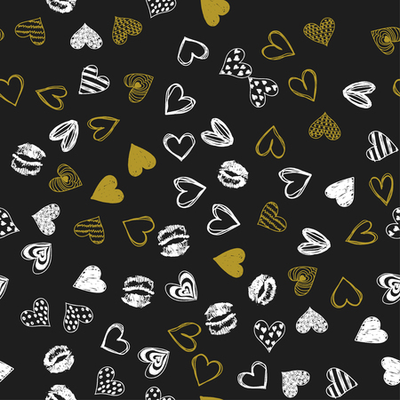 Doodle love golden heart Valentines Day seamless pattern. Textile wrapping dark holiday design. Wedding romantic sketch background. Banque d'images - 124886629
