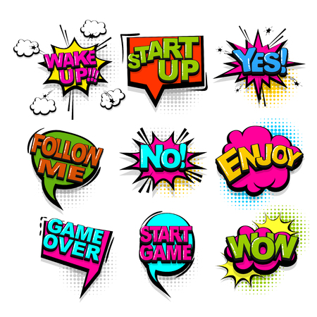 Wake up wow start game comic text collection sound effects pop art style. Set vector speech bubble with word and short phrase cartoon expression illustration. Comics book colored background template.  イラスト・ベクター素材