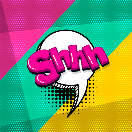 Shh silence comic text sound effects pop art style. Vector speech bubble word and short phrase cartoon expression illustration. Comics book colored background template. Banque d'images - 124886635