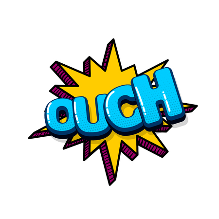 ouch comic text sound effects pop art style. Vector speech bubble word and short phrase cartoon expression illustration. Comics book colored background template.  イラスト・ベクター素材