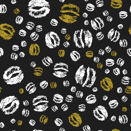 Doodle love golden heart Valentines Day seamless pattern. Textile wrapping dark holiday design. Wedding romantic sketch background. Banque d'images - 124886640