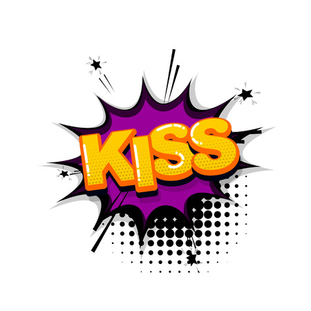 Kiss love passion comic text sound effects pop art style. Vector speech bubble word and short phrase cartoon expression illustration. Comics book colored background template.