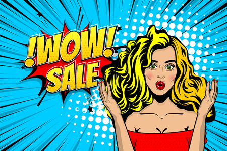 wow face woman pop art sale advertise Çizim