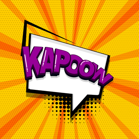 Kapow comic text sound effects pop art style. Vector speech bubble word and short phrase cartoon expression illustration. Comics book colored background template.