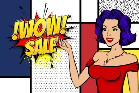 Vintage blue hair pop art girl shopping. Halftone pattern comic book backdrop. Wow smiling face pop art woman. Comic speech bubble. Happy white woman with bags. Pin up art style.