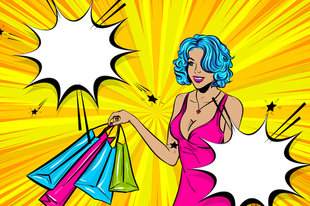 Vintage pop art girl shopping. Halftone pattern comic book backdrop. Wow smiling face pop art woman. Comic speech bubble. Happy white woman with bags. Pin up art style.