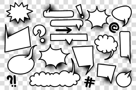 Comic book text speech bubble in pop art style. Halftone background talk chat retro speak message. Empty white blank comment.