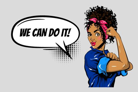 We can do it black woman girl power pop art Vetores