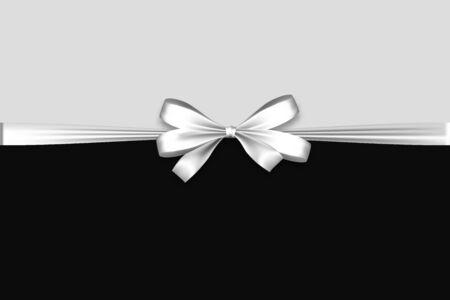 Nastro con fiocco in raso natalizio bianco Vettoriali