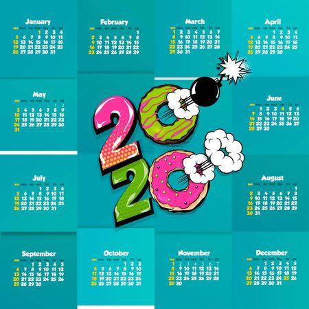 2020 comic text calendar template pop art Illustration