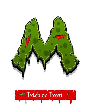 Halloween green color comic horror zombie font