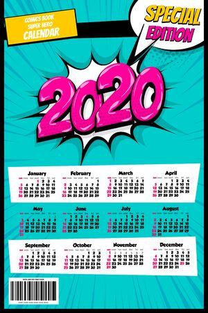 2020 colored calendar pop art vector style Stock Illustratie