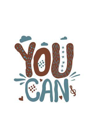 You can doodle retro vintage motivation text lettering