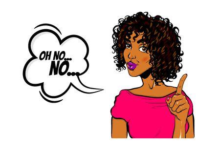 Black woman pop art Wow face show finger no Foto de archivo - 131140853