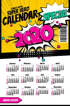 2020 colored calendar pop art vector style  イラスト・ベクター素材