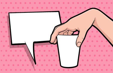 Hand gesture hold coffee mug comic book pop art isolated. Drink advertising gesture. Sketch cartoon retro coffee break cup arm. Coffee mock up hand gesture vector illustration. Ilustração