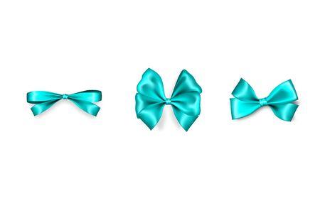 Holiday satin gift bow knot aquamarine ribbon