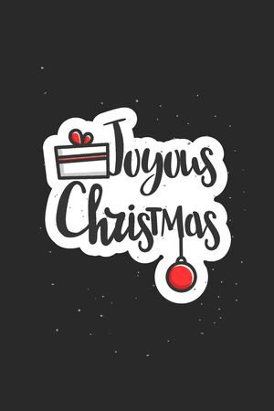 Christmas wishes lettering in doodle style jolly vector