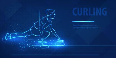 Curling woman player hold ston neon banner Vektorové ilustrace