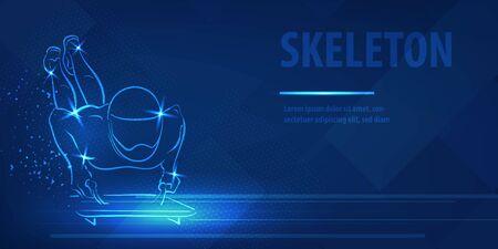 Skeleton racer on luge silhouette neon banner speed skating