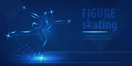 Figure skating dancing on ice Blue neon banner
