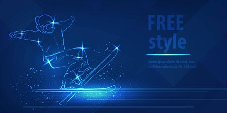Freestyle ski man figure jumping sport blue neon