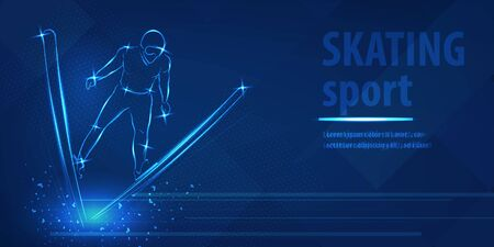 Skiing freestyle speed race skating sport blue neon