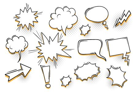 Speech bubble for comic text isolated background. Empty white outline.  Dialog empty cloud, cartoon box. Speech bubble tag.
