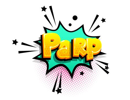 Parp cartoon funny retro candy comic font. Explosion isometric text shock phrase pop art. Colored comic text speech bubble. Positive glossy sticker cloud vector illustration.