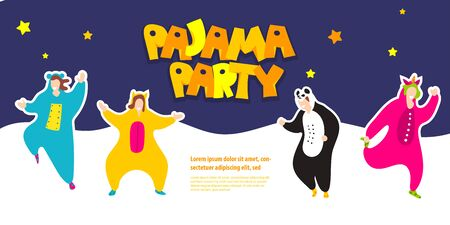 Pajama party happy friends in pajamas costume Vector Illustration