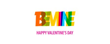 Be mine. Valentine Day quote rainbow text in bright color. Quote for decorative design. Typographic calligraphy phrase. Love concept. Romantic concept. Valentine day quote vector. Иллюстрация