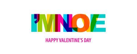 I am in love. Valentine Day quote rainbow text in bright color. Quote for decorative design. Typographic calligraphy phrase. Love concept. Romantic concept. Valentine day quote vector.
