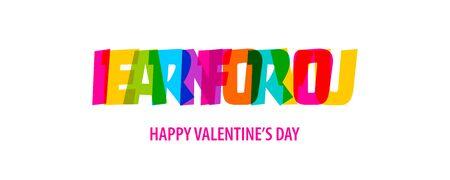 Guadagno per te. Testo arcobaleno di citazione di San Valentino in colori vivaci. Preventivo per il design decorativo. Frase tipografica di calligrafia. Concetto di amore. concetto romantico. Vettore di citazione di San Valentino.