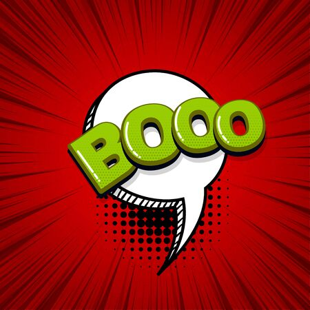 Boo scare halloween comic text sound effects pop art style. Vector speech bubble word and short phrase cartoon expression illustration. Comics book colored background template. Ilustração