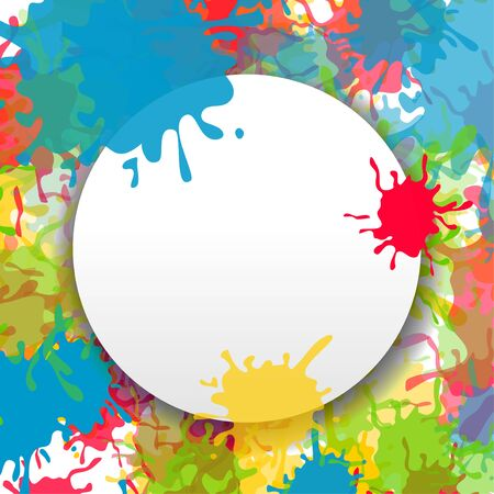 Vector grunge background. Bright colored rainbow splash paint ink abstract backdrop. White banner template with drop shadow. Place for text.