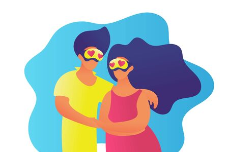 Family in VR glasses trendy people flat Valentines