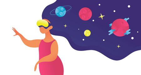 Woman in vr glasses look at space on star and planet.