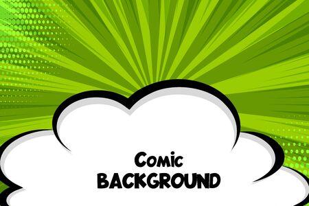 Comic book cartoon speech bubble cloud for text. Cartoon puff cloud green background for text template. Pop art dialog conversation funny smoke steam. Comics explosion.