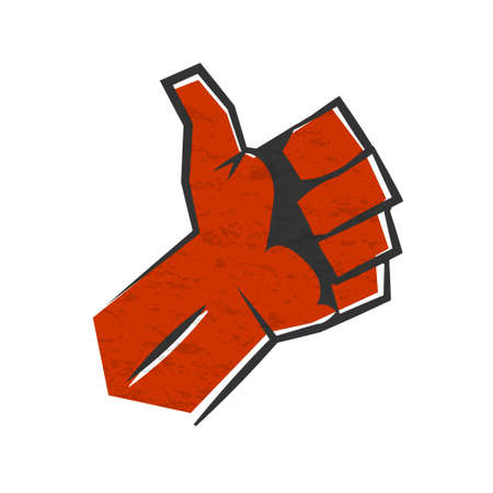 Red positive thumb up gesture symbol of success