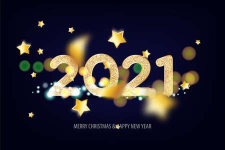 2021 Happy New Year tradicional lettering text Illusztráció