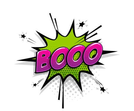 Comic text Boo speech bubble pop art style Иллюстрация