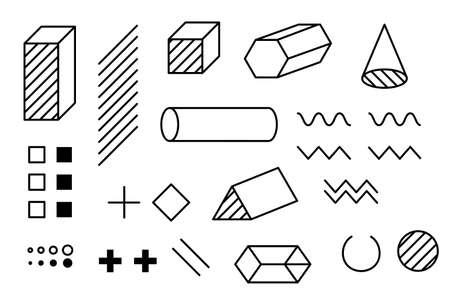Modern trendy hipster pop art halftone geometric elements. 80s-90s line shape vintage style. Memphis vector graphic dot, line, circle shape set. Vektoros illusztráció