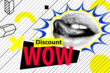 Banner for sale modern hipster pop art open mouth
