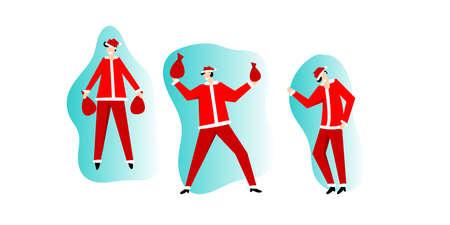 Santa Claus in red costume happy dancing vector