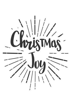 Christmas joy wishes lettering in doodle style. Vektoros illusztráció