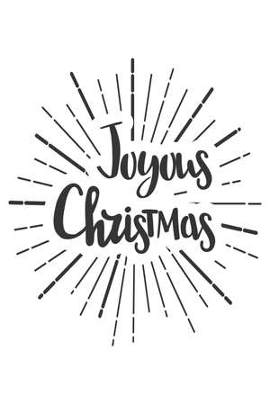 Joyous Christmas wishes lettering in doodle style.