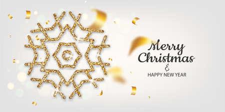 Golden snowflakes shimmer on light background 向量圖像