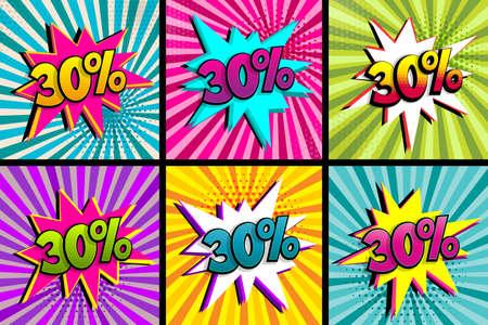 Comic text 30 percent sale set discount. 向量圖像