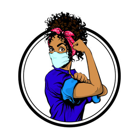 We Can Do It black african woman in medical mask
