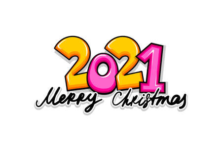2021 cartoon new year number sketch style. Vettoriali